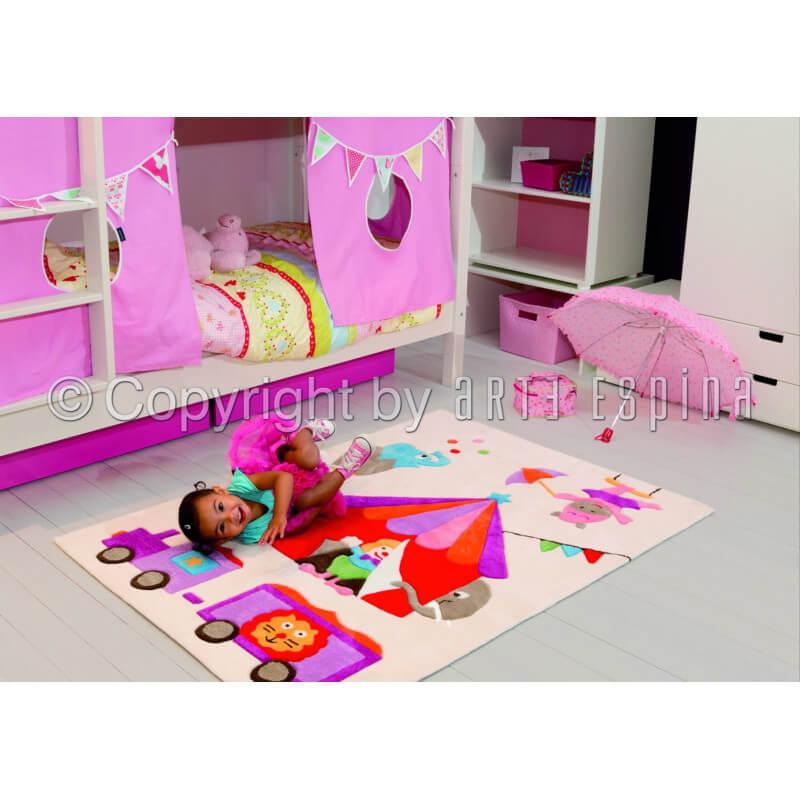 tapis pour chambre de fille blanc circus kids arte espina. Black Bedroom Furniture Sets. Home Design Ideas