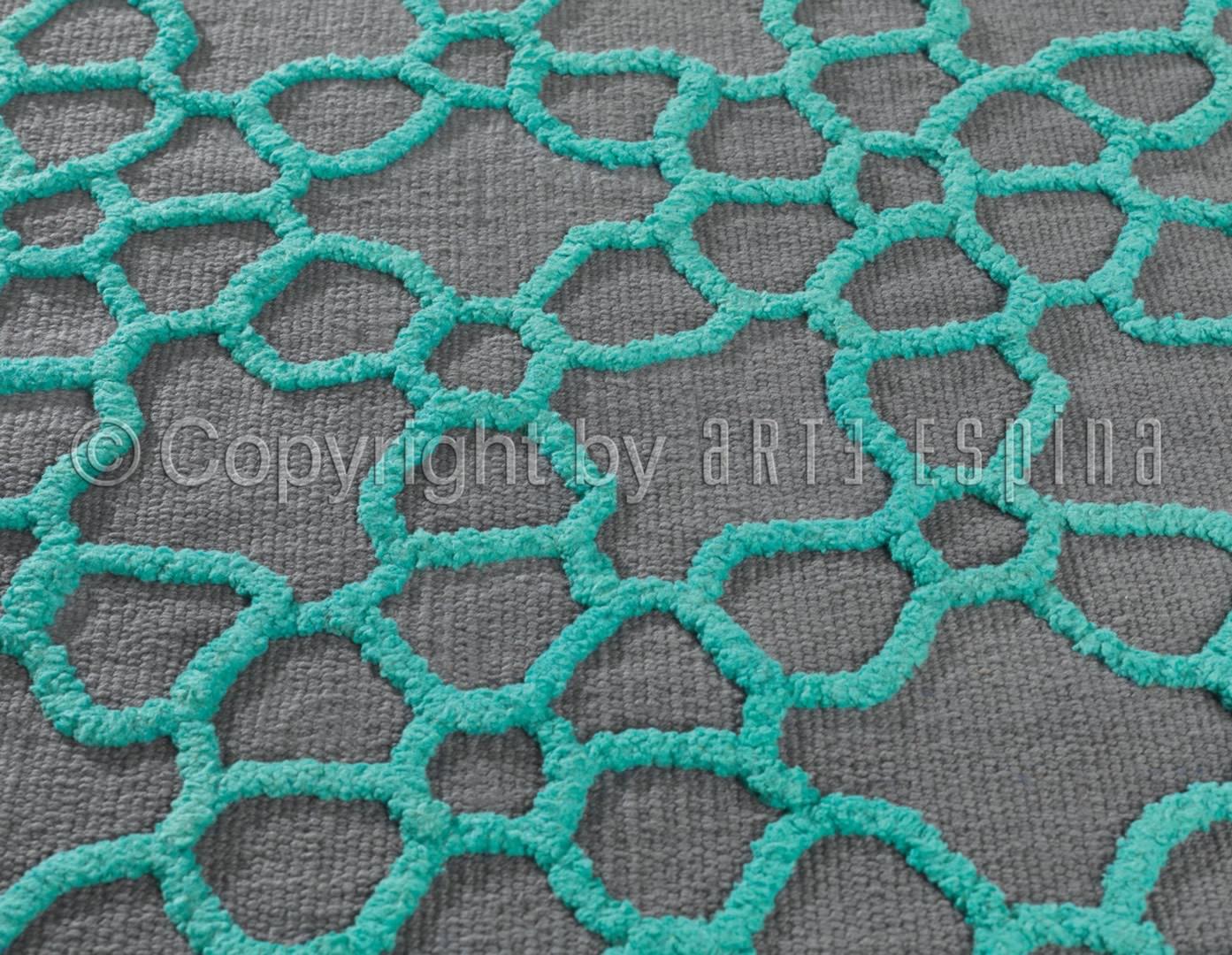 Tapis Arte Espina en coton turquoise Flashy Geometry
