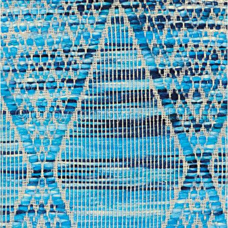 Tapis bleu en acrylique plat tissé main Stracciatella Arte Espina