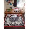 Tapis à motifs noir pour salon blanc Oriental Esprit Home