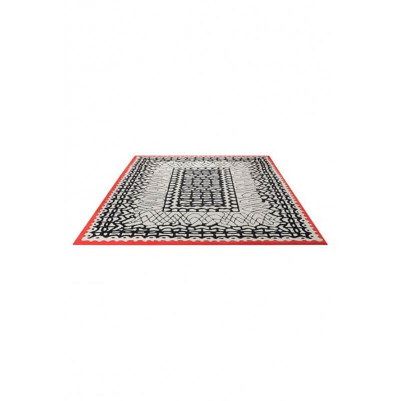 tapis motifs noir pour salle manger blanc oriental esprit home. Black Bedroom Furniture Sets. Home Design Ideas