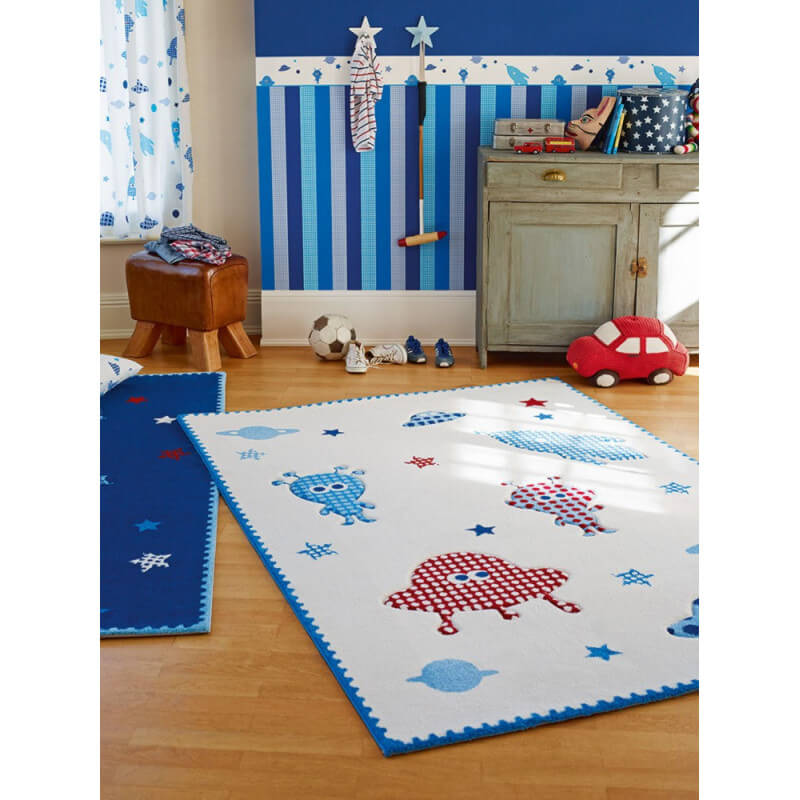 tapis pour enfant tiss blanc little astronauts esprit home. Black Bedroom Furniture Sets. Home Design Ideas