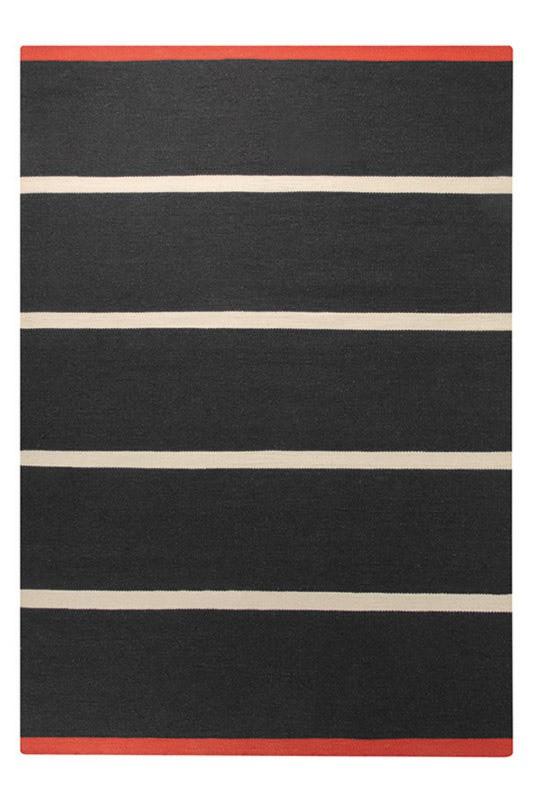 Tapis plat tissé main du Népal noir Simple Stripe Esprit Home