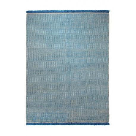 Tapis du Népal en laine plat tissé main bleu Loom Esprit Home