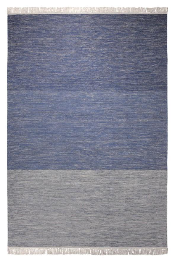 Tapis Esprit Home en laine bleu à franges Casual