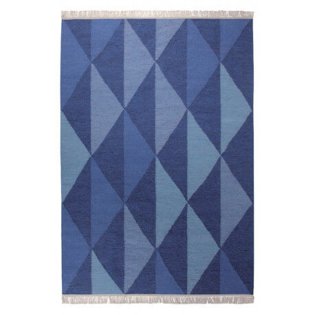 Tapis tissé main plat du Népal bleu Natural Triangular Esprit Home