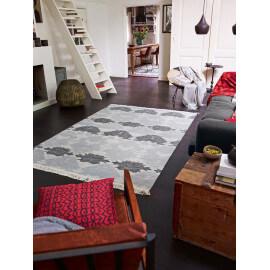 Tapis en laine à franges anthracite plat Denim Batik Esprit Home