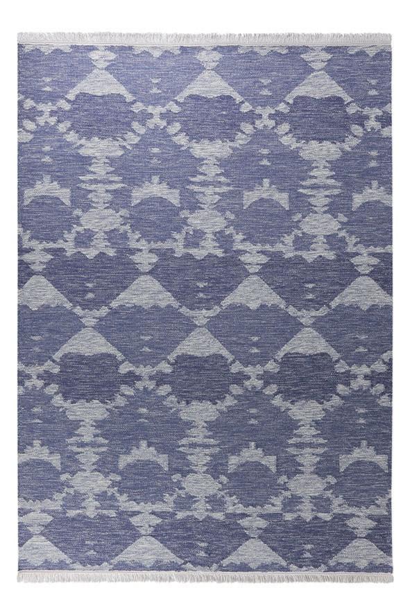 Tapis en laine à franges bleu plat Denim Batik Esprit Home
