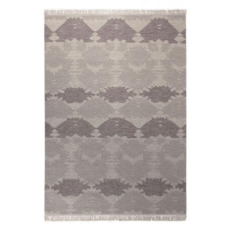 Tapis en laine à franges taupe plat Denim Batik Esprit Home