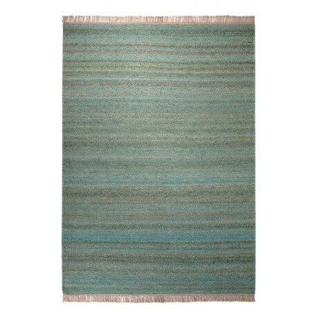 Tapis en laine et chanvre pour salon vert Blurred Esprit Home
