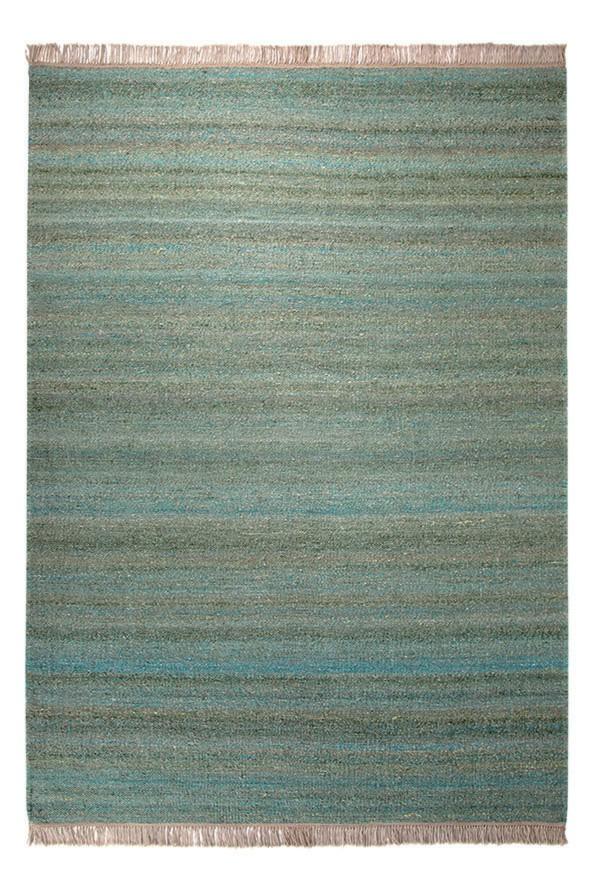 Tapis en laine et chanvre vert Blurred Esprit Home