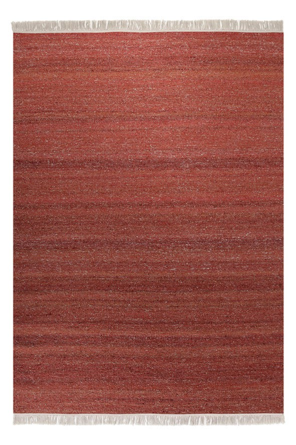 Tapis en laine et chanvre rouge Blurred Esprit Home