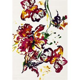 Tapis à motifs fleuris crème en polypropylène Recife