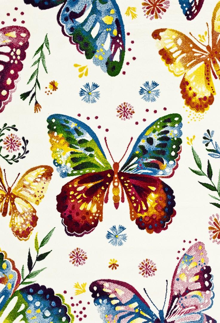 138c1fc047da3d Tapis pour enfant crème à motifs colorés Borboletas Coloridas