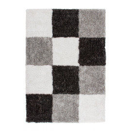 Tapis en damier shaggy anthracite Style III par Lalee