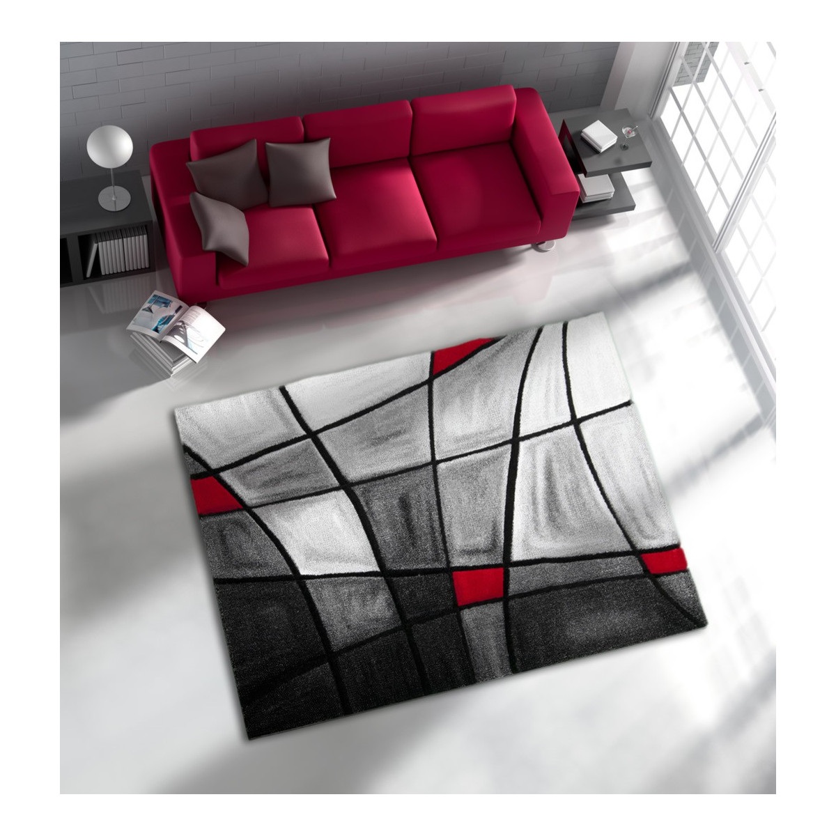 tapis de salon avec effet 3d gris et rouge chic soldes. Black Bedroom Furniture Sets. Home Design Ideas