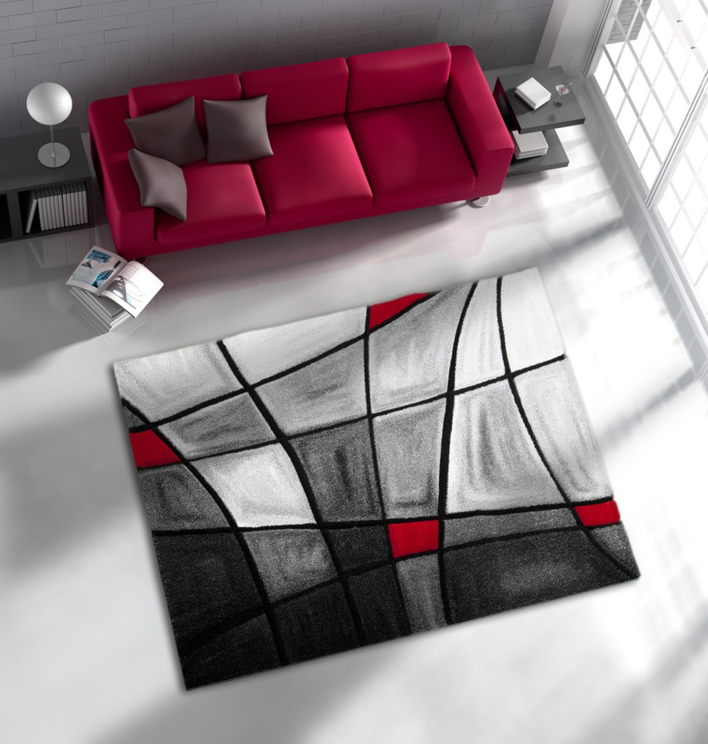 tapis de salon avec effet 3d gris et rouge chic. Black Bedroom Furniture Sets. Home Design Ideas