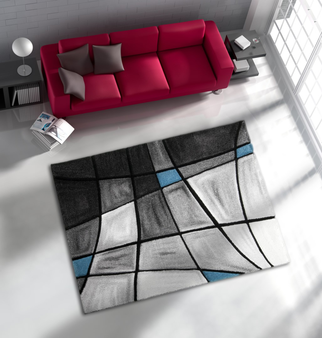 tapis de salon avec effet 3d gris et bleu chic. Black Bedroom Furniture Sets. Home Design Ideas