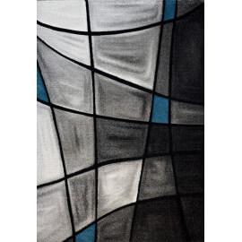 Tapis de salon avec effet 3D gris et bleu Chic