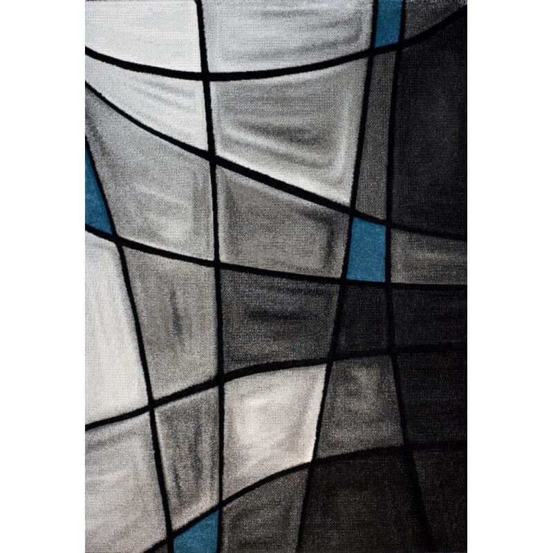tapis de salon avec effet 3d gris et bleu chic. Black Bedroom Furniture Sets. Home Design Ideas