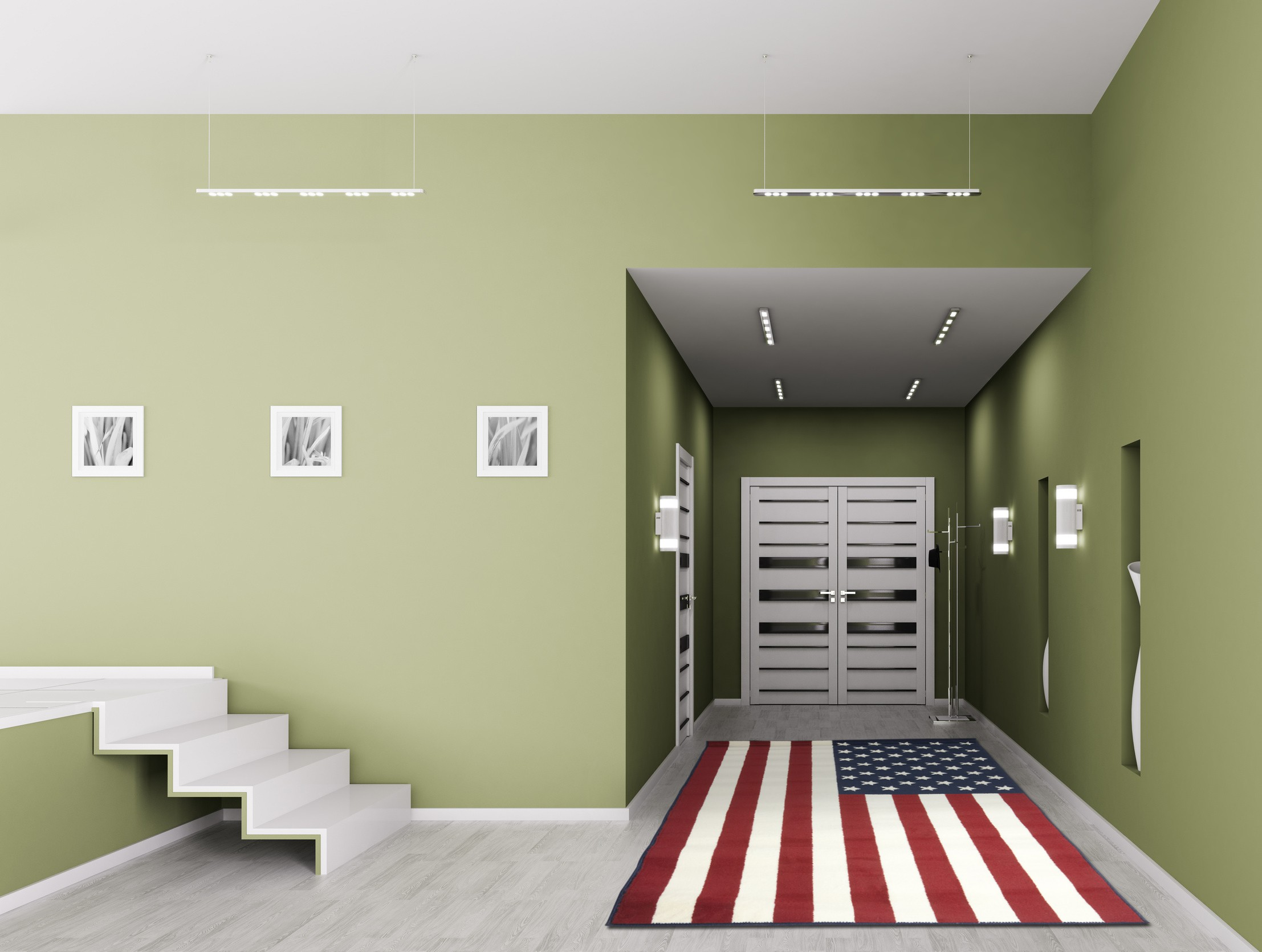 American Flag tapis bleu et rouge Drapeau Américain