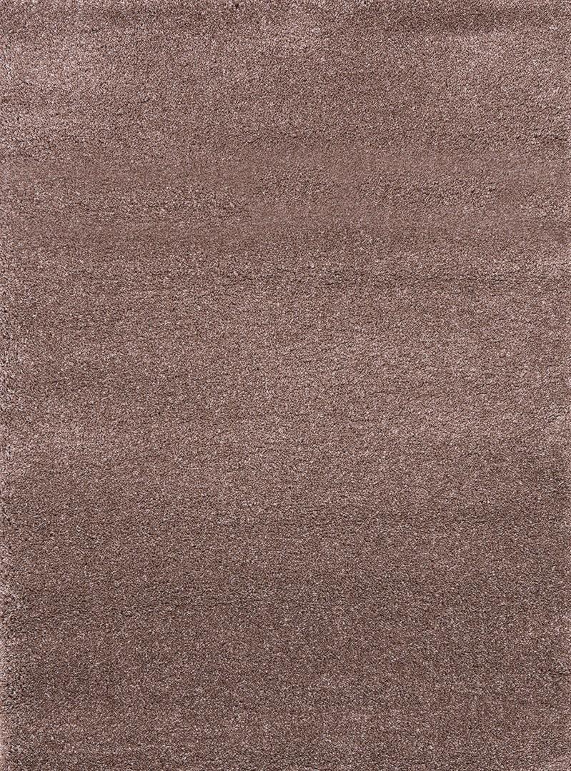 Tapis gris et mauve à longues mèches uni Deluxe