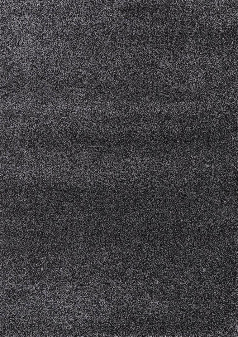 Tapis noir à longues mèches uni Deluxe