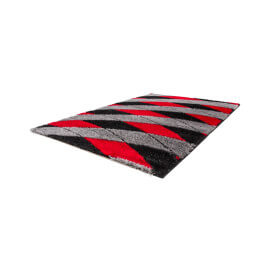 Tapis moderne brilant shaggy pour salon rouge Jazz