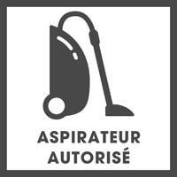 Nettoyage à l'aspirateur autorisé